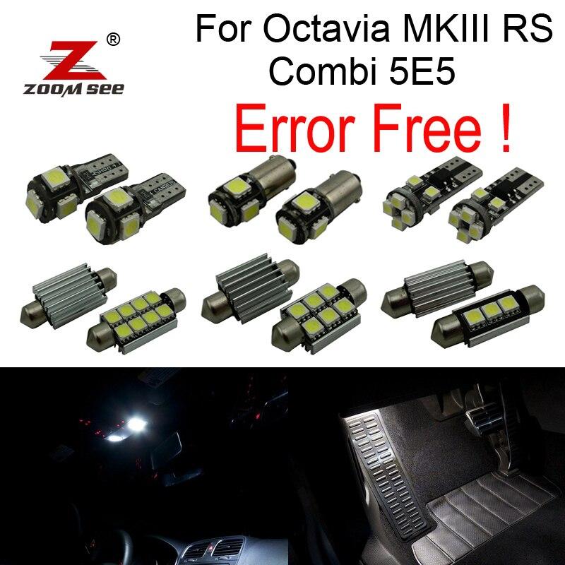 17x HA CONDOTTO LA lampadina Luci Interne + Vano Piedi lampada + Targa + Decoder per Skoda Octavia MK 3 MKIII RS combi 5E5 Wagon (2013 +)