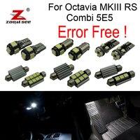 17x LED bulb Interior Lights + Footwell lamp + License Plate + Decoder for Skoda Octavia MK 3 MKIII RS Combi 5E5 Wagon (2013+)