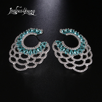 2018 Luxury Vintage Blue Branch Stud Earrings For Women Club Factory Wedding Fan Shape CZ Stone Ethnic Earings Brincos AE534