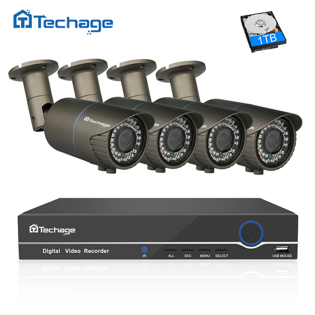 Techage 1080P POE CCTV System 8CH NVR Kit 4PCS 2.8mm~12mm Varifocal Zoom Lens 2MP IP Camera P2P Video Security Surveillance Set