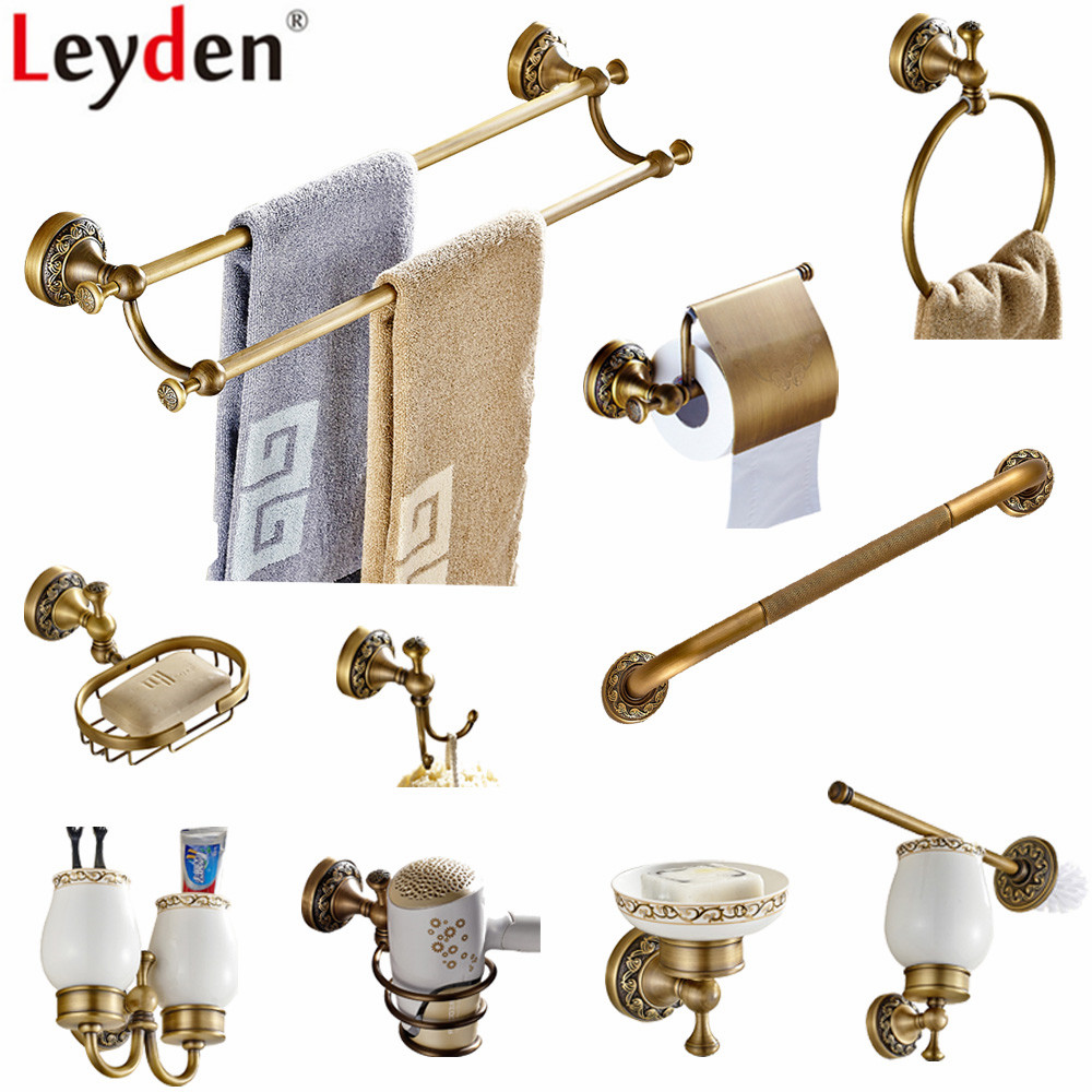 Leyden Antique Brass Bathroom Hardware Set Wall Mounted Towel Bar Toilet Paper Holder Towel Ring Clothes