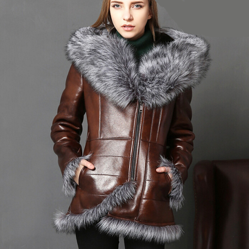 Winter Warm Real Fur Coat Women With Real Fox Fur Trim Genuine Leather Sheepskin Leather Fur Bomber Jackets Vintage Lamb Clothes