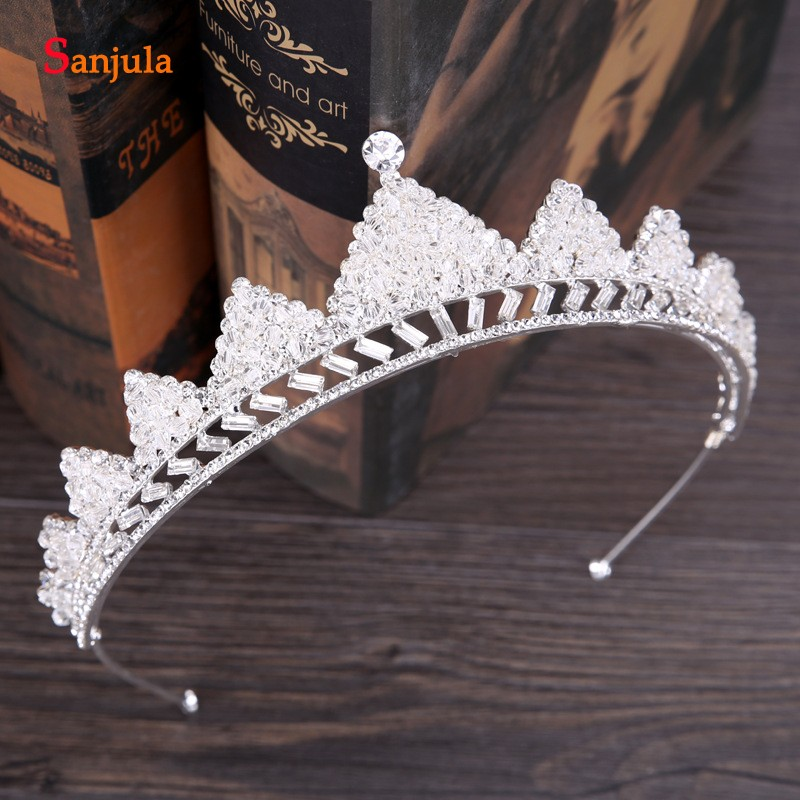 Crystal Beaded Bridal Tiaras Silver Metal Wedding Crowns Brides Headband 2019 New Headwear T122