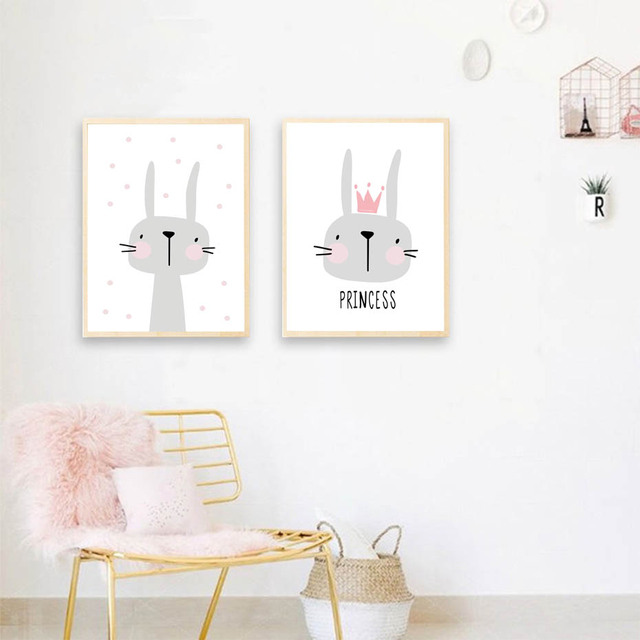 Pink Cartoon Nursery Girl Wall Picture Poster Print Rabbit Crown Baby Room Modern Canvas Painting Kids Children Wall Art Mural