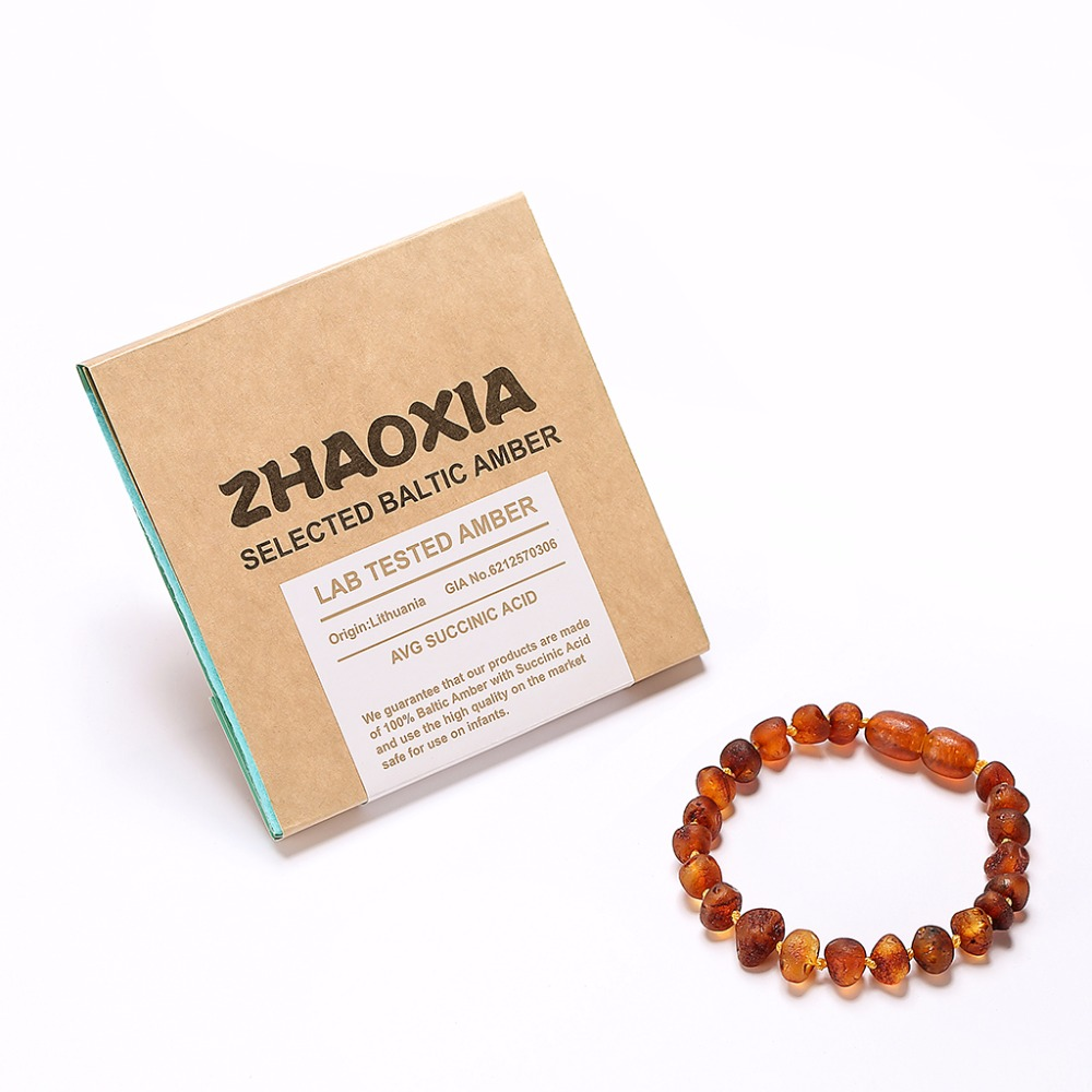 Raw Baltic Amber Teething Bracelet for Baby(Cognac Raw - Unpolished) - Handmade in Lithuania - Lab-Tested Authentic - 2 Sizes