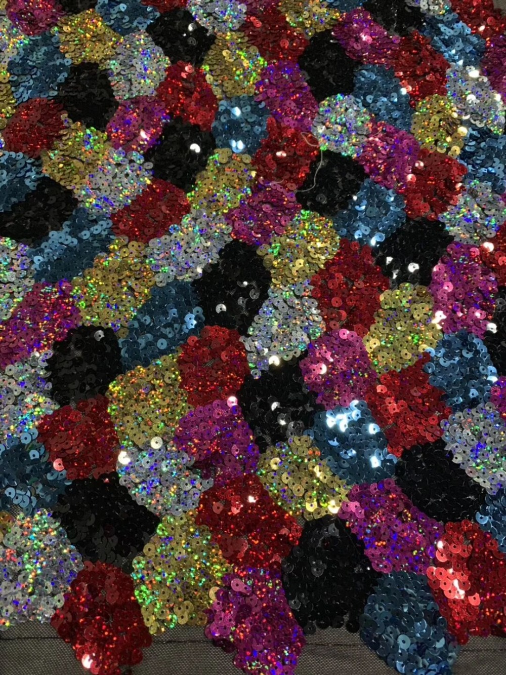 Newest African Lace Fabric With Sequins High Quality Nigeria Mesh Tulle Lace Fabric For Party Dress