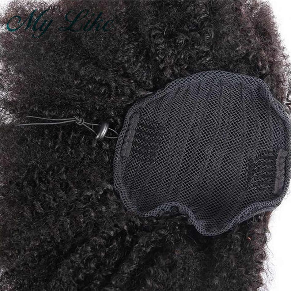 Clip de pelo humano de cola de caballo rizado en extensión de cabello negro Natural 1 pieza Cola de Caballo para mujer