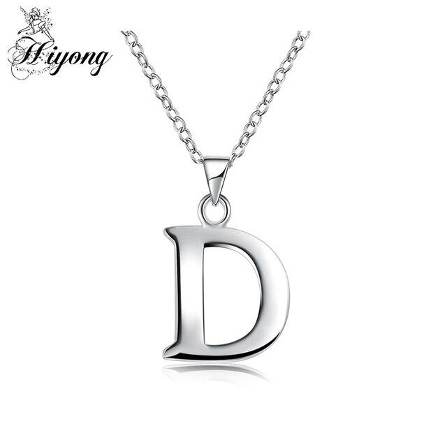 9855d299c09 Lettre D Pendentif Collier Initiable pour Femmes Alphabet Charme pour Hommes  En Laiton Couleur Argent Vintage