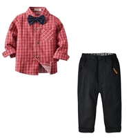 Children's suit boy wine red plaid long sleeved lapel shirt + trousers + bow tie gentleman out clothes two piece sets