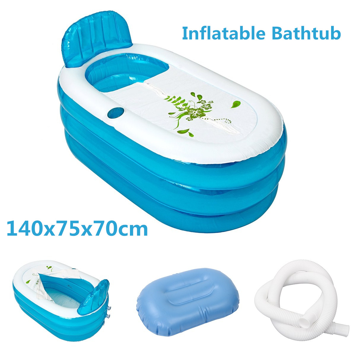 1Set 140x75x70cm PVC Folding Portable Bathtub for Adults Inflatable ...