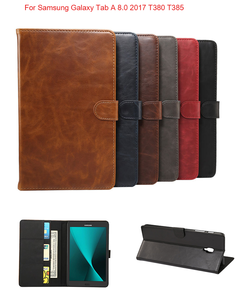 Luxury Crazy Horse Stand PU Leather Cover Magnet Smart Case For Samsung Galaxy Tab A2S 8.0 2017 T380 T385 SM-T380 SM-T385 case for samsung galaxy tab a 8 0 sm t350 t351 t355 luxury stand folio flip pu leather skin magnetic smart sleep cover case film