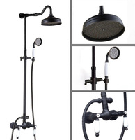 Bathroom Luxury Black Oil Rubbed Brass Wall Mounted Rain Shower Head Arm Set Faucet Mixer Tap ars773