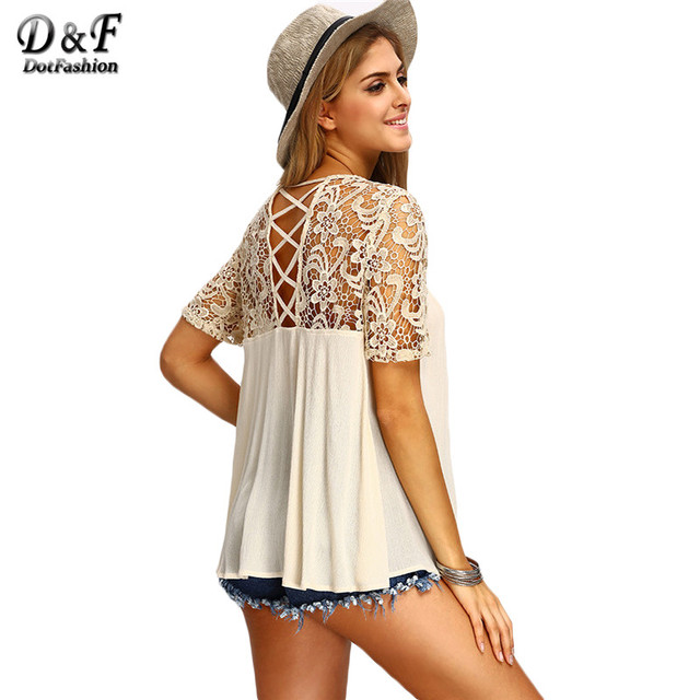 Dotfashion 2017 Boho Blouses and Shirts For Women Vogue Royal Criss Cross Back Cut Out Crochet Short Sleeve Round Neck Blouse