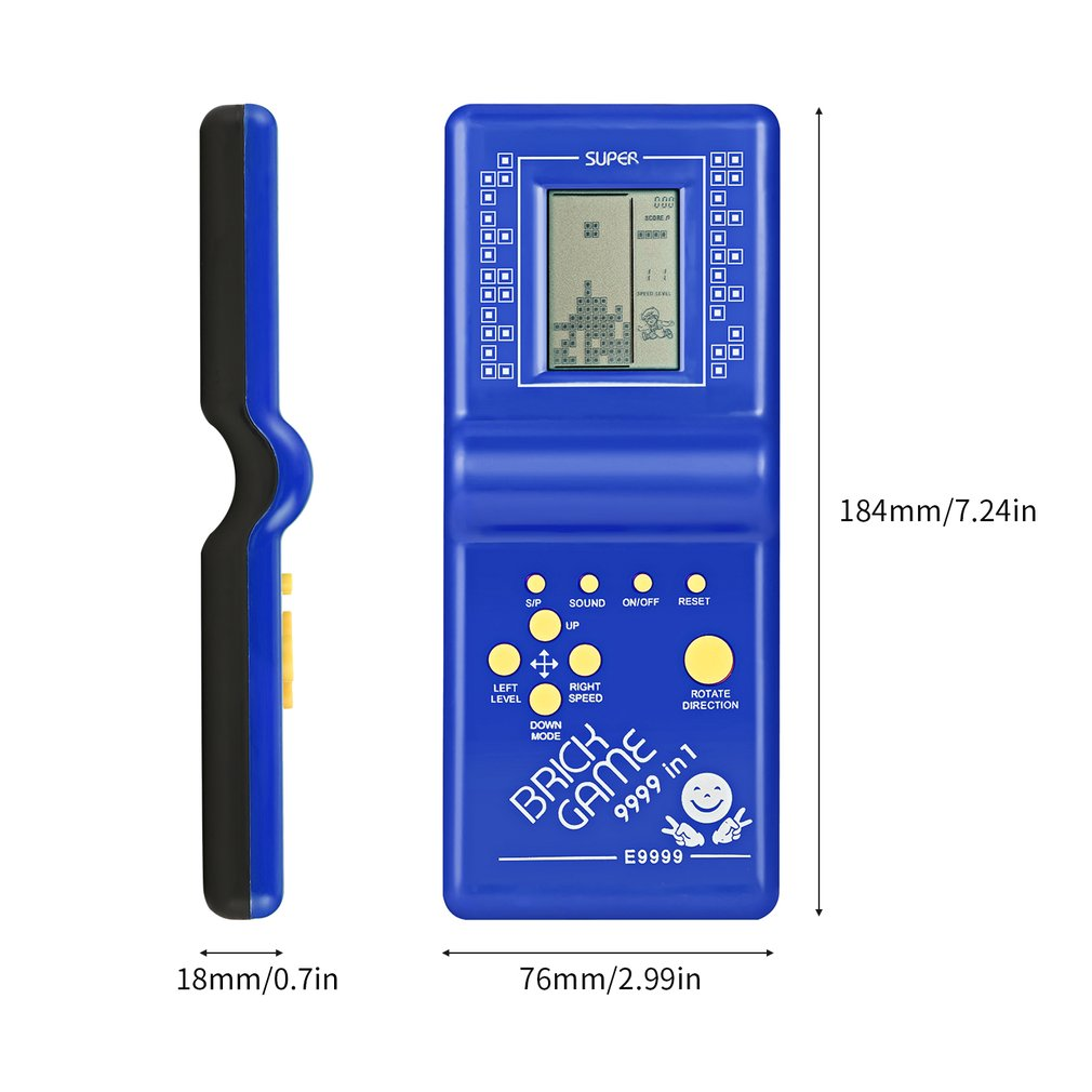 OCDAY Classic Handheld Game Machine Tetris Brick Game Kids Game Machine with Game Music Playback without Battery Electronic Toys