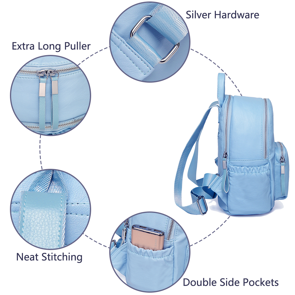 409c15ccf22 Baby Blue Faux Leather Backpack   Building Materials Bargain Center