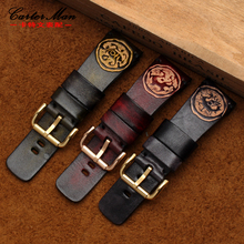 High quality for men's 28mm Tree cream skin watchband Sculpture retro genuine leather  band for SF /PA  Wrist watch Chinese wind