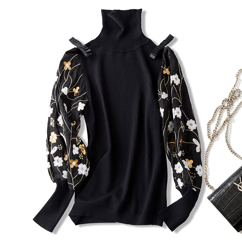 XIANGSHI New autumn winter high quality women sweater turtleneck lantern sleeve sequins floral embroidery knitting pullovers