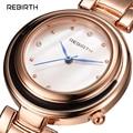 Rebirth Fashion Brand Women Lady Luxury Clock Female Stylish Casual Business Rose Gold Elegant Steel Wrist Quartz Bracelet Watch