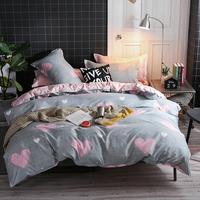 BEST.WENSD Quality grey Winter Comforter Bedding Sets Wedding home textiles bedding pink Love Big double bed cover set for girl