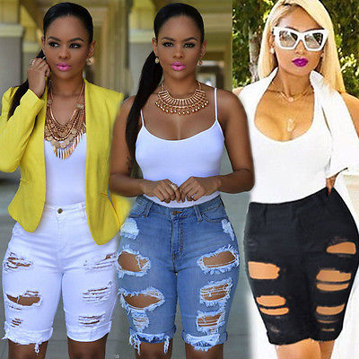 Vintage Women Ladies Denim Shorts Stretch Ripped Hole Denim Jeans Pants Hotpants stylish denim ripped shorts for women