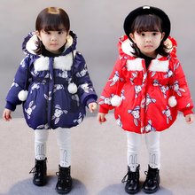 Female baby cotton coat winter girls cotton clothes plus velvet quilted children thick cotton jacket baby girl children autumn 2018 autumn and winter boys and girls jacket baby winter thick warm cotton clothes baby hooded quilted jacket