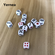 10Pcs/Lot 10mm Dice Acrylic White Hexahedron Fillet Red and Black Points Clubs KTV Dedicated Entertainment Set Yernea
