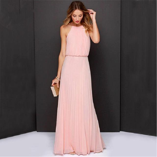 Women Sexy Long Party Dress Pink Floor Length Sleeveless Chiffon ...