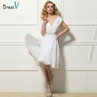 Dressv white sexy V-neck lace pleats cocktail dress A-line knee length chiffon short sleeves lace cocktail dress designer dress