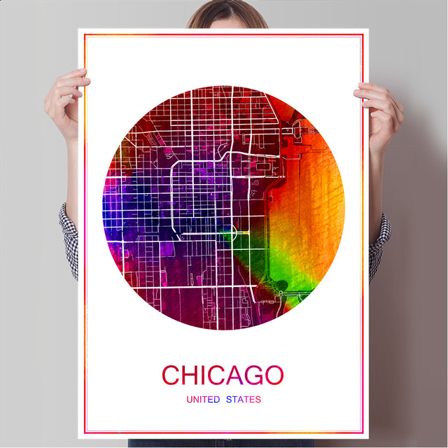World famous city map chicago usa print poster print on paper or canvas wall sticker bar