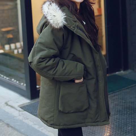2016 Kore kış rüzgar Enstitüsü kürk yaka ve uzun frak pamuk kalınlaşmış ceket ceket gevşek boyutu