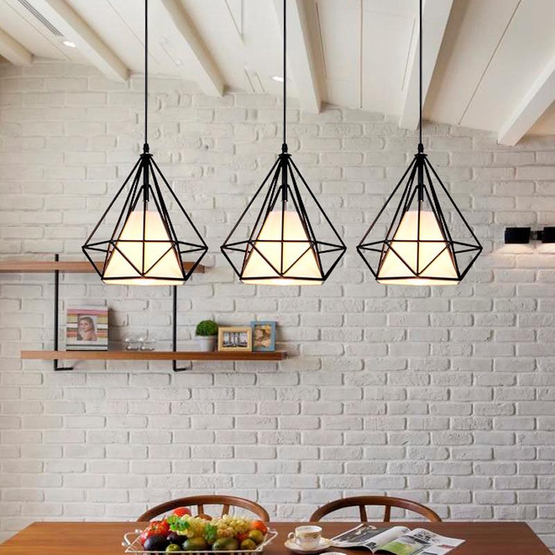 Vintage Retro Loft Pendant Lamp Wrought Iron Birdcage Chandelier Creative Restaurant Bedroom Kitchen Hotpot Diamond Single Light