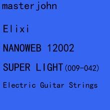 12 setleri Elix NANOWEB/POLYWEB elektro gitar dizeleri Anti pas düz çelik dizeleri süper hafif orta