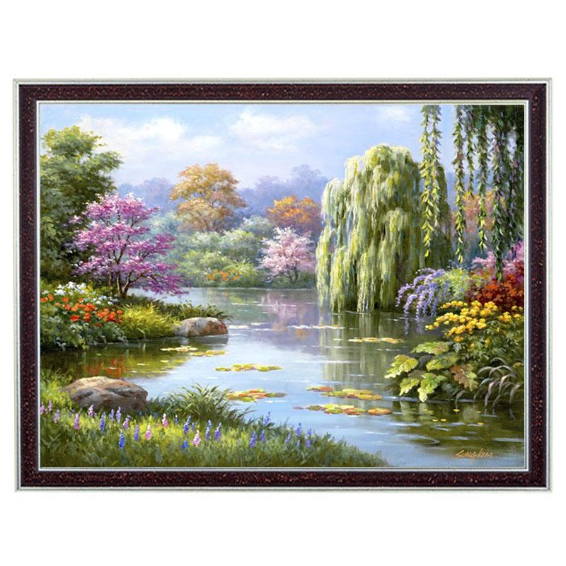 Needlework Crafts 14CT unprinted Embroidery French DMC Quality Counted Cross Stitch Kit Set Oil Painting Spring