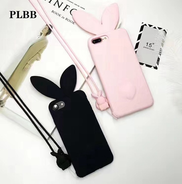 newest d44d2 8a3fa US $3.98 |PLBB 3D Cute Bunny Rabbit Ears Tail Back with Rope Phone Cover  for iPhone 6 6s 7 8 plus X 5 5s SE Girls Shell Capa Fundas Case-in Fitted  ...