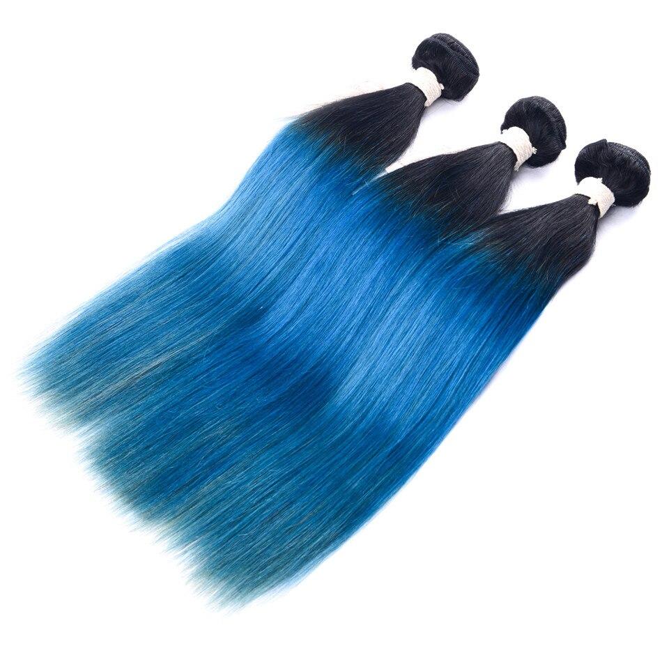 LADYSTAR Remy paquets de cheveux humains paquets droits Extensions de cheveux trame de cheveux Ombre couleur noir/bleu
