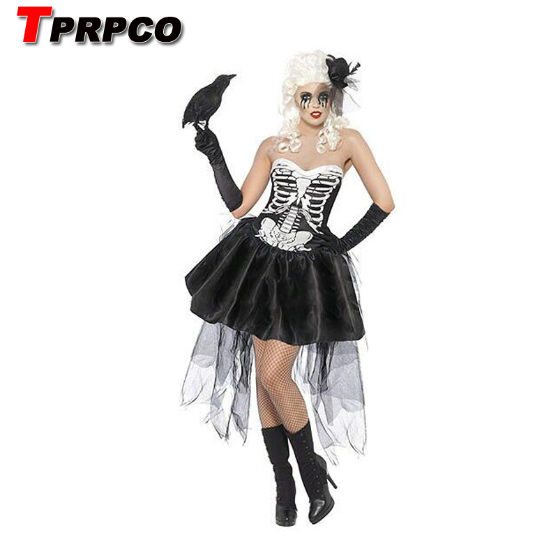 TPRPCO Sexy Women Halloween Vampire Costume Zombie Ghost Bride Cosplay Fancy Dress Lace Mini Tutu Dress Skeleton NL1781