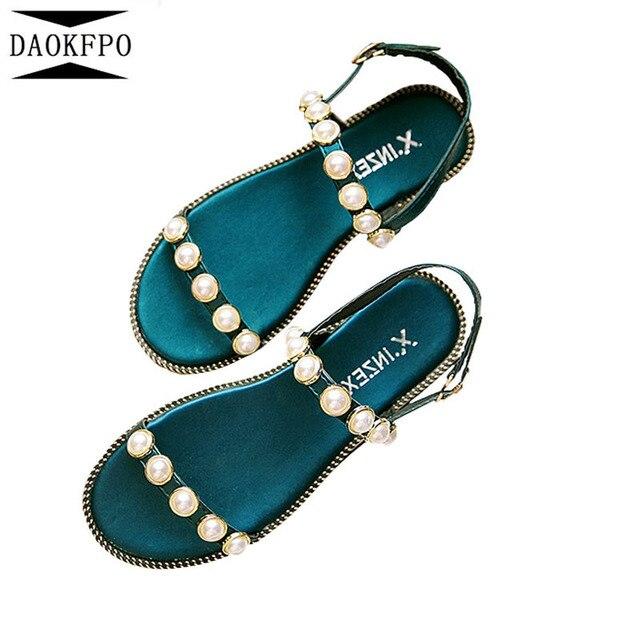 DAOKFPO Лето 2017 г. пляжные туфли с широко открытым носком жемчужные сандалии нескользящей плоской подошве в римском стиле Для женщин Вьетнамки Повседневные шлепанцы модные NVB-29