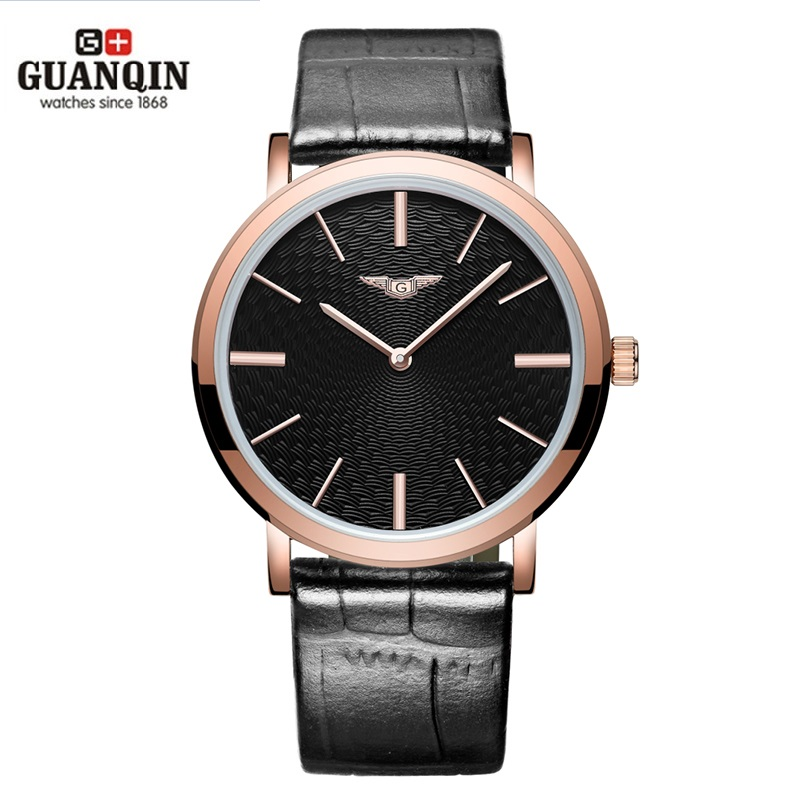 ФОТО Luxury Brand GUANQIN Men Watch Ultra Thin Men Watch Quartz Analog  Wristwatches Waterproof Leather Men Watch Relogio Masculino