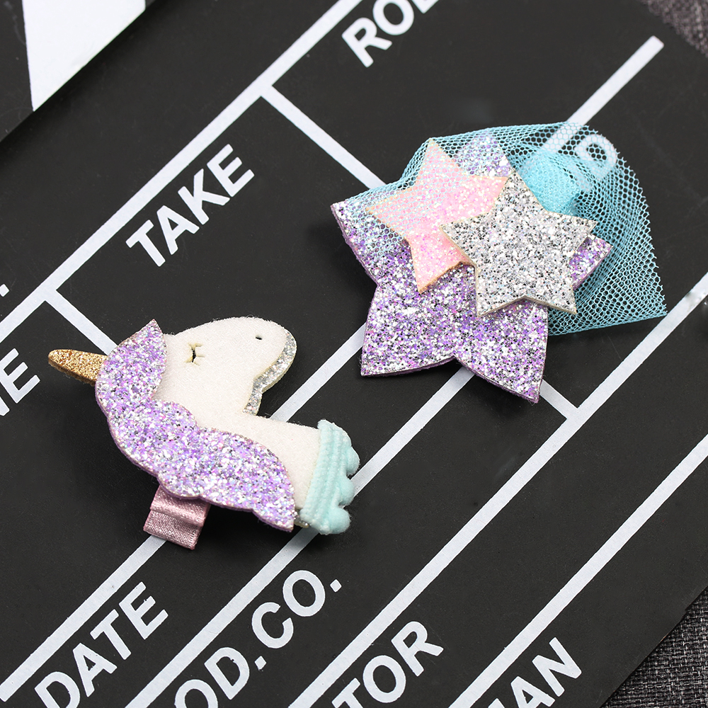 1PC Cute Unicorn Star Patternt Girls Hair Clips Barrettes Hairpins For Kids Girls Unicorn Hairpin Hair Band Accessories 1pack 10pcs hair clips barrettes girls cute hairpins colorful headbands for kids hairgrips hair accessories