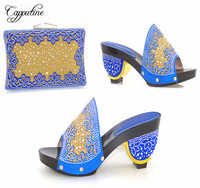 Amazing royal blue special high heel sandal shoes and purse set for evening party CSB1,multi color