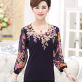 2016 New Summer Women Blouses Plus Size Embroidery Print Chiffon Casual Shirt Tops Kimonos Blusa mujer Purple,Orange,Red M~3XXXL