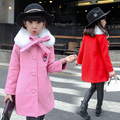2016 Children Outerwear Coat Fashion Kids Jackets for Girl Warm Hooded Gamulanes Clothing Girls Wool Dress Coat with Fur Collar