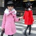 2016 Crianças Casaco Outerwear Jaquetas de Moda Infantil para a Menina Com Capuz Quente Gamulanes Roupas Meninas Vestido De Casaco de Lã com Gola De Pele
