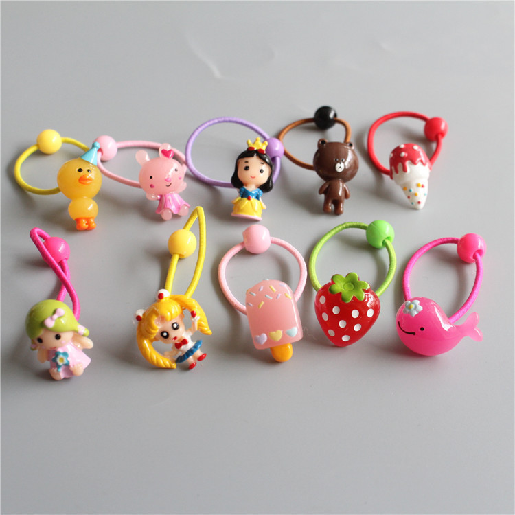 Children Hair Ropes Cartoon Animal Crocodile Angel Elastic Rubber Hair Band Girls Hair Accessories Baby Headwear Kids Headdress 12pc set elastic hair rubber band children hair unicorn headband kids hair accessories gril hair band set cute unicorn cartoon