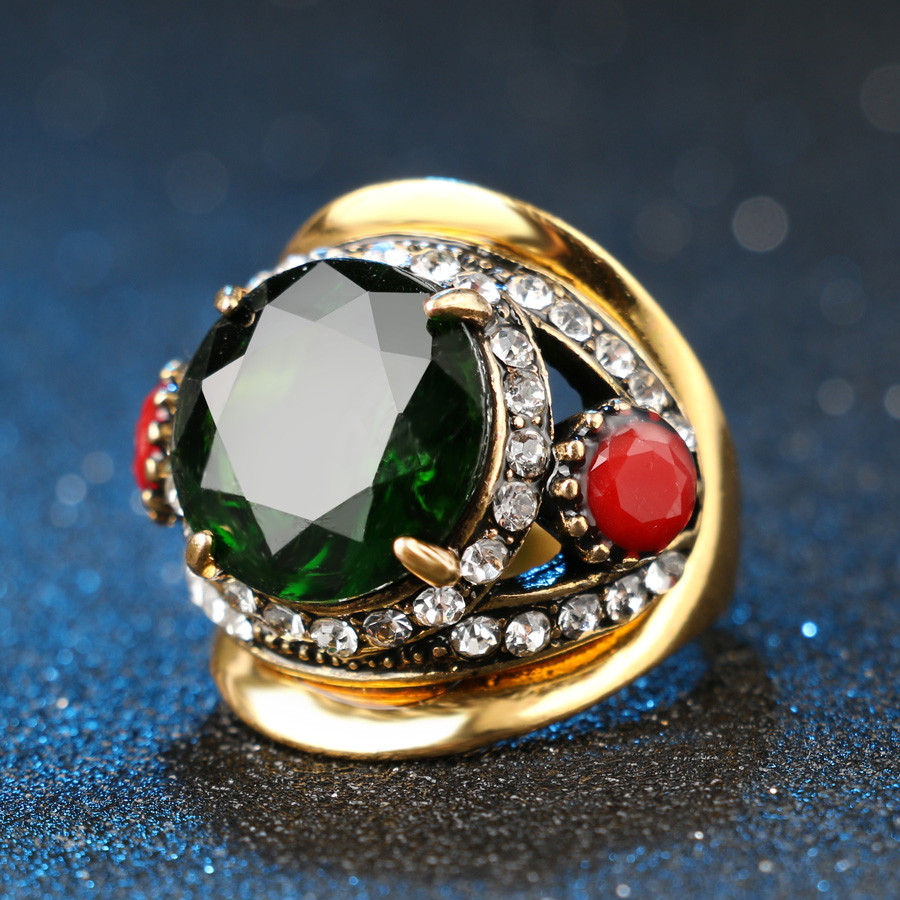Kualitas tinggi 2015 Mode Warna Emas Bridesmaid Hijau Jewelry Set 2 - Perhiasan fashion - Foto 5
