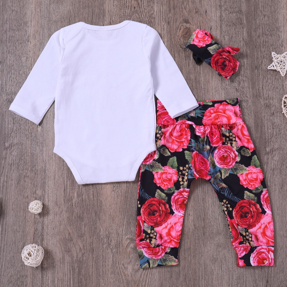 Toddle Baby girl Clothing Set White Baby Sister Romper + Rose Print Trousers +Headband Newbor Girls 3 Pcs Clothes Outfit