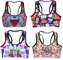 Breathable Women Wirefree Sports Bras Crop Top Fitness Run Yoga Tank Cartoon Bullet Casings 3D Digital Print Padded Shakeproof