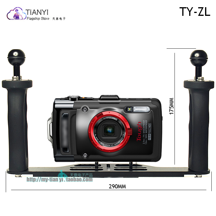 Black Color : Black ZL-U High quality Dual Handle Aluminium Tray Stabilizer with Dual Ball Aluminum Alloy Clamp /& Floating Arm for Underwater Camera Housings