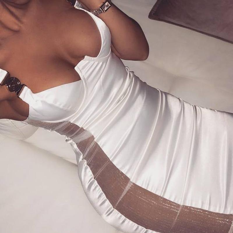Moulante Sangle Spaghetti Dress Dress D'hiver Tendance Dos Sexy Femmes 2019 V Black Robe Gosexy Profonde Nu Maille Nouveau white Rayé wvnOyN8m0
