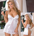 Erótico Sexy Lady Lace Branco Vestido de Noiva Sexy Lingerie Low-Copo Aberto Para Trás Casamento Foto Sexo Sleepwaer Jogo Cosplay Babydoll + Véu